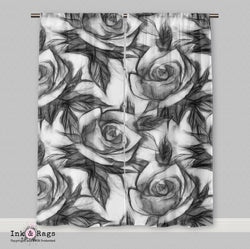 Black and White Pencil Sketch Rose Curtains