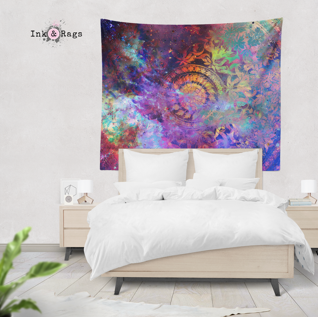 Electric Universe Floral Mandala Wall Tapestry