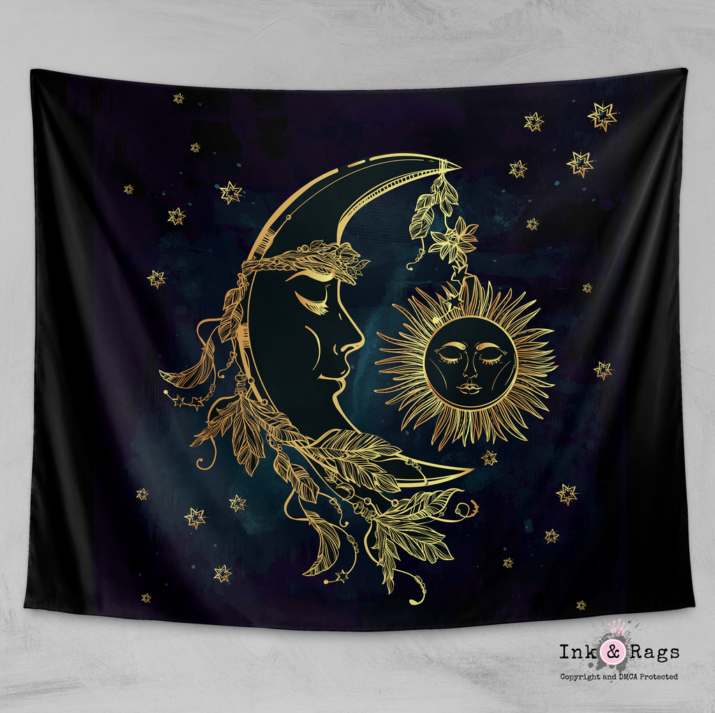 Boho Midnight Black and Teal with Gold Sun Moon and Stars Wall Tapestry
