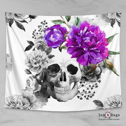 Purple Flower Watercolor Skull Wall Tapestry