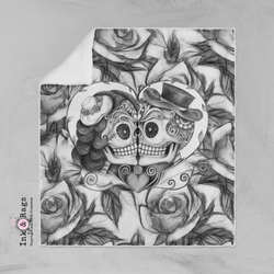 Pencil Sketch Rose Kissing Couple Sugar Skull Velvet and Faux Sherpa Blankets