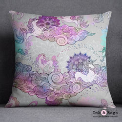 Bohemian Unicorn Dreams Mandala and Flower Decorative Throw Pillow
