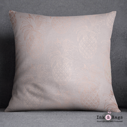 Blush Pink and Rose Gold Pineapple Decorative Throw Pillow