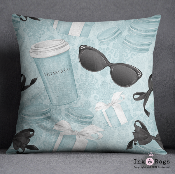 Coffee and Macarons with Tiffany Fashion Decorative Throw Pillow Cover