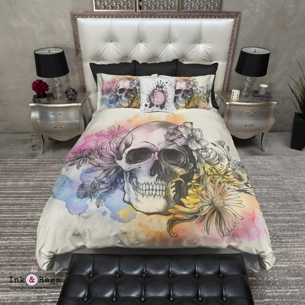 Watercolor Sketch Skull Bedding CREAM