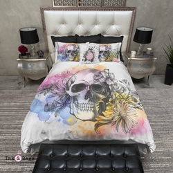 Watercolor Sketch Skull Bedding
