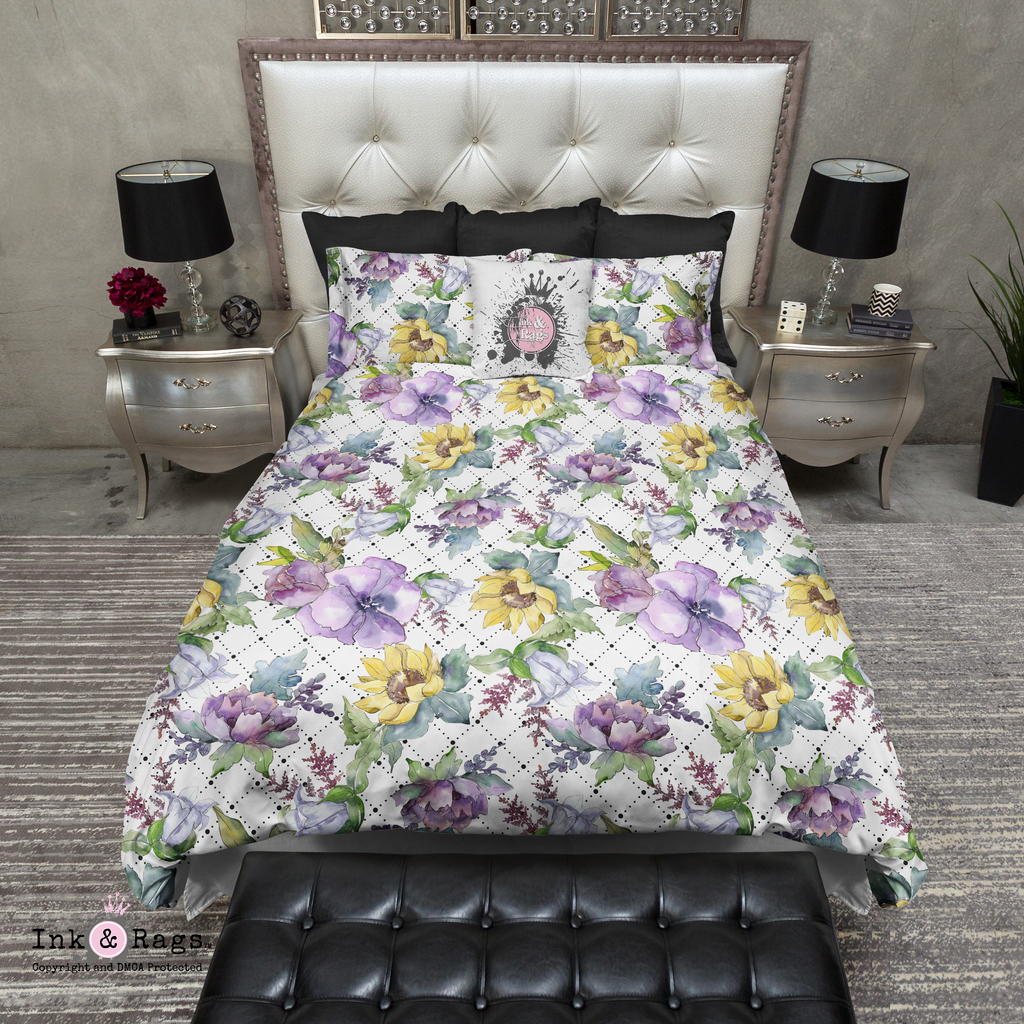 Purple Peony and Golden Sunflower Dot Bedding Collection