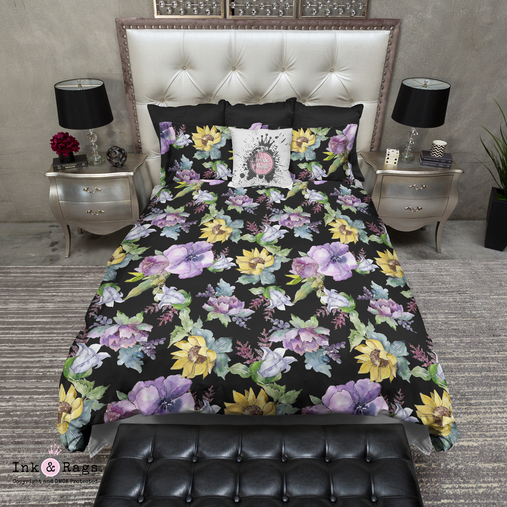 Purple Peony and Golden Sunflower on Black Bedding Collection