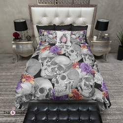 Grey Skull with Orange and Purple Flowers Bedding
