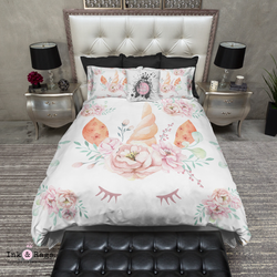 Be a Unicorn Watercolor Unicorn Face and Rose Bedding