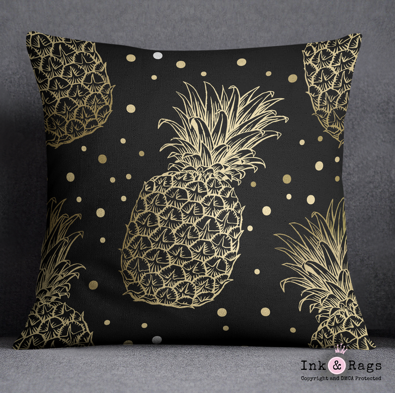 Black and Gold Pineapple Dot Decorative Throw Pillow Cover