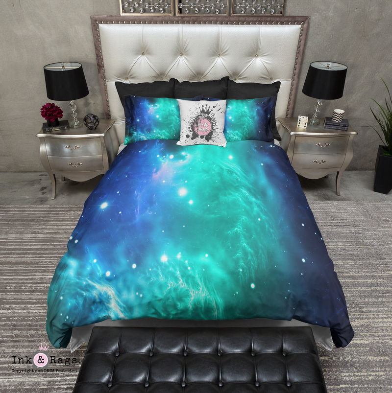 Teal and Blue Galaxy Nebula Bedding