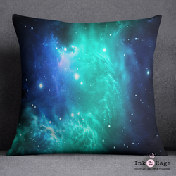 Teal and Blue Galaxy Nebula Decorative Throw Pillow Cover