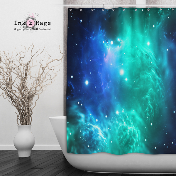 Teal and Blue Galaxy Nebula Shower Curtains and Bath Mats