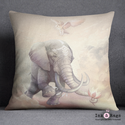 Boho Elephant Owl and Lotus Decorative Throw Pillow Cover