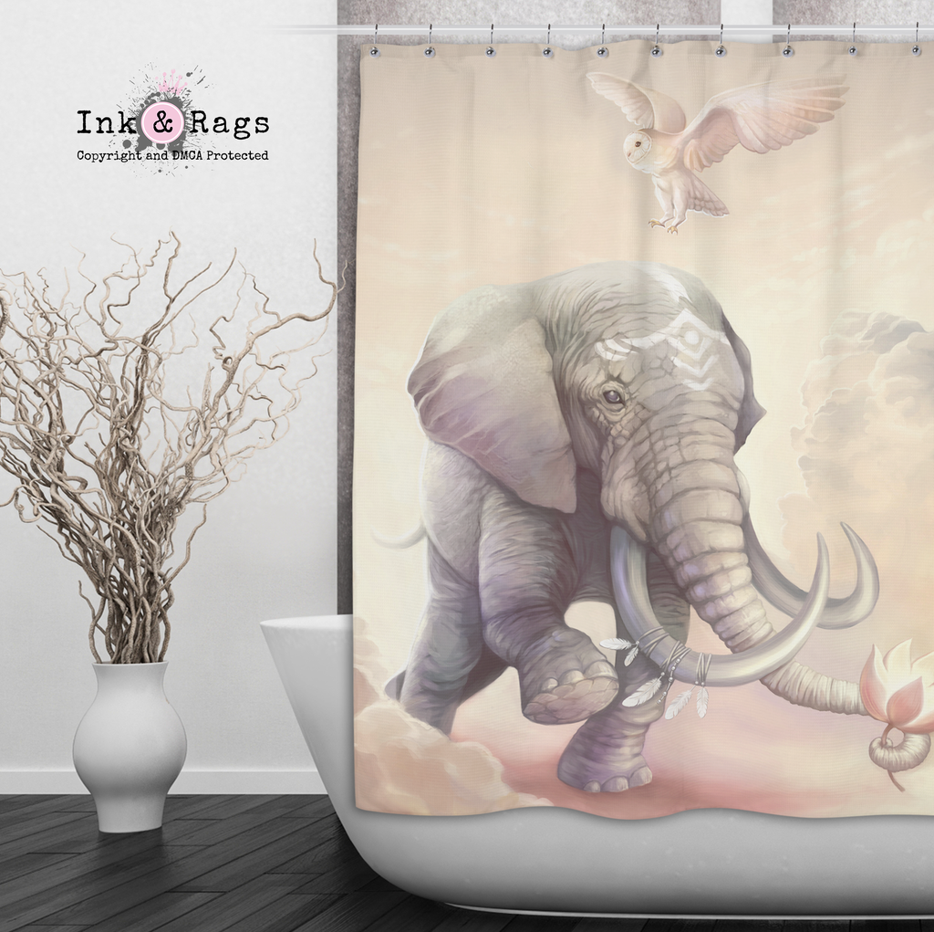 Boho Elephant Owl and Lotus Shower Curtains and Optional Bath Mats