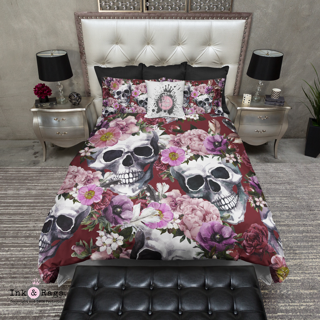 Deep Red Watercolor Flower and Skull Bedding Collection