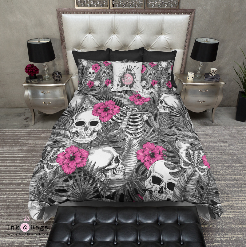 Skulls Ribcage Palms and Bright Pink Hibiscus Flower Bedding