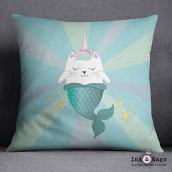 A Caticorn Mermaid Decorative Throw Pillow Cover