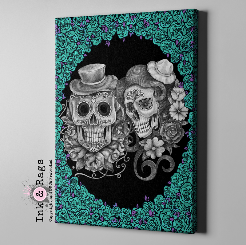Teal and Purple Sketch Sugar Skull Couple Gallery Wrapped Canvas