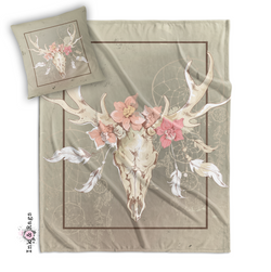 Dreamcatcher Floral Buck Skull Decorative Throw and Pillow Cover Set