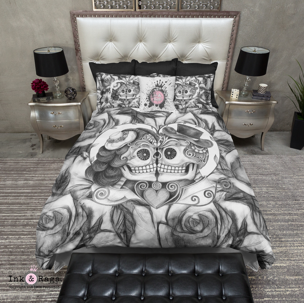 Pencil Sketch Rose Kissing Couple Sugar Skull Bedding Collection