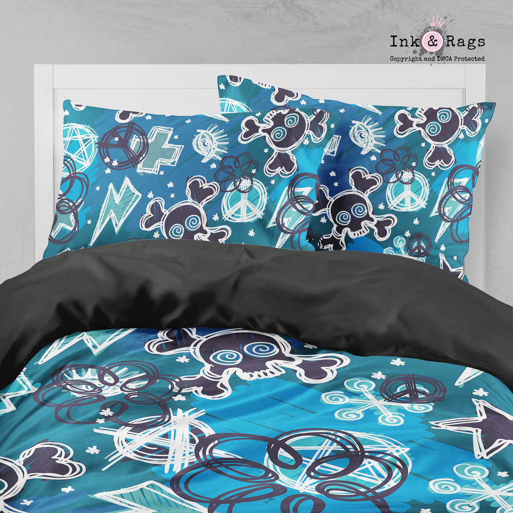 Shades of Blue Punk Rock Skull and Crossbone Bedding