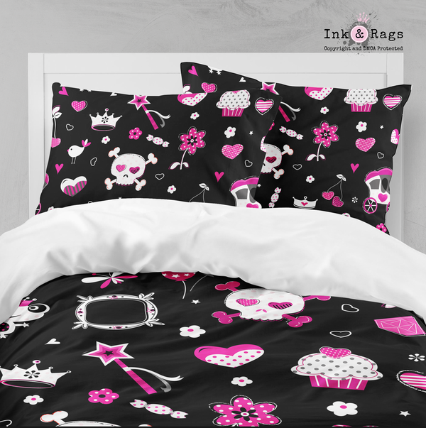 Punk Princess Black Skull Bedding