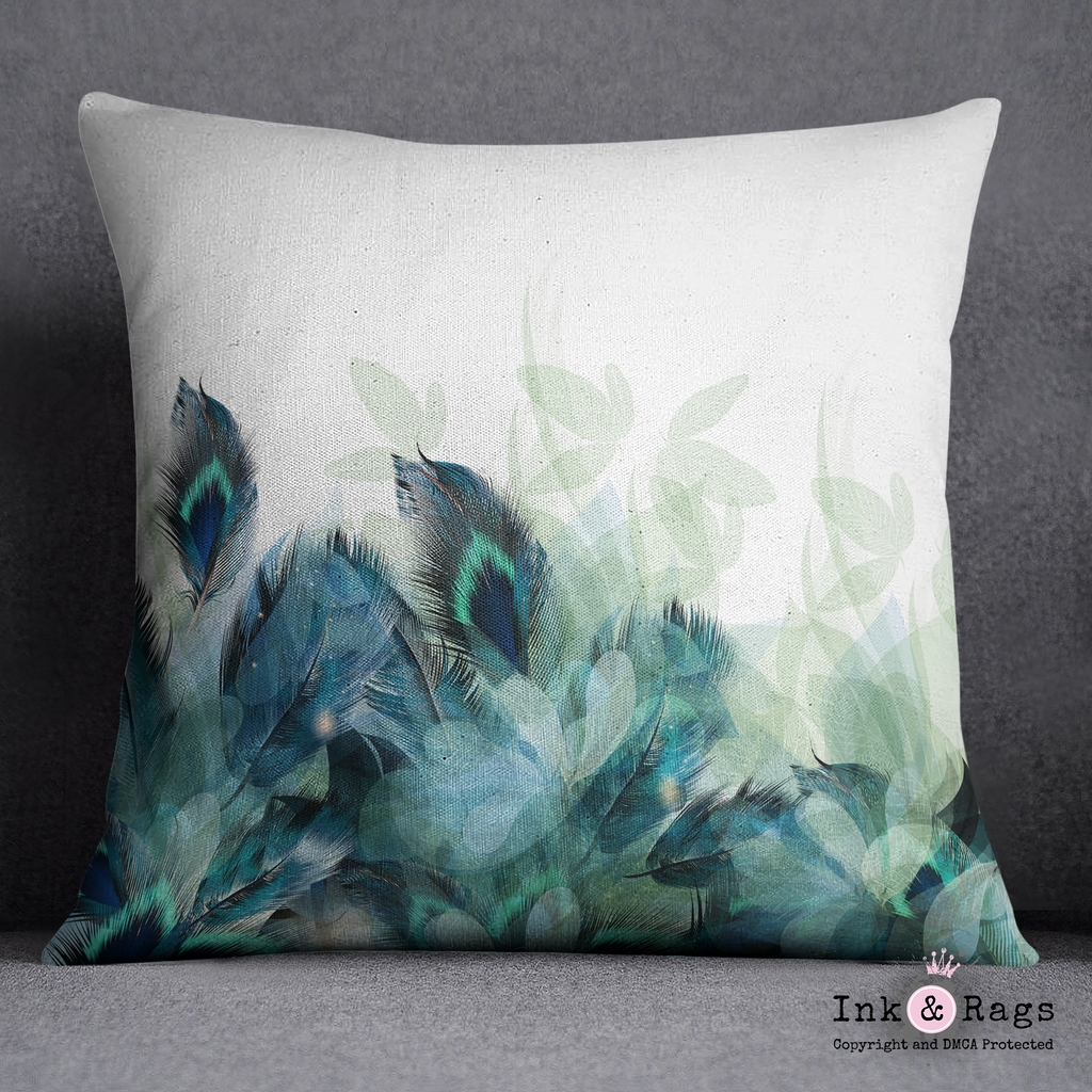 Peacock Feather and Leaf Motif Decorative Throw Pillow Cover