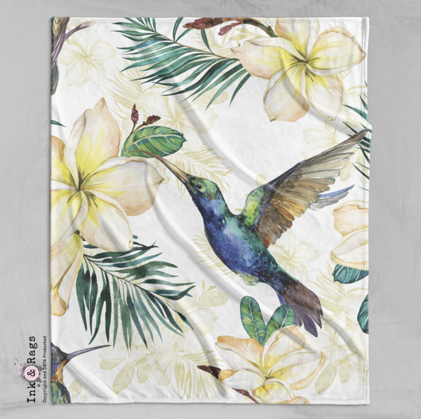 Watercolor Plumeria and Hummingbird Decorative Throw and Pillow Cover Set