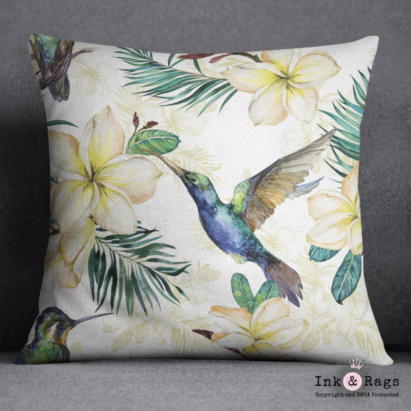 Watercolor Plumeria and Hummingbird Decorative Throw Pillow Cover