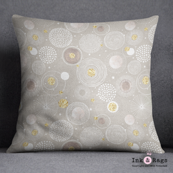Modern Blooms Beige and Gold Decorative Throw Pillow Cover