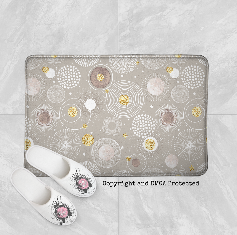 Modern Blooms in Beige and Gold Shower Curtains and Bath Mats