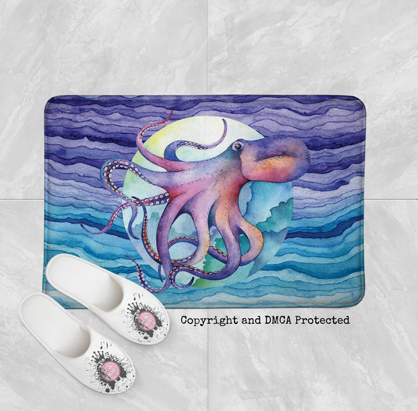Luna Watercolor Octopus Wave Shower Curtains and Bath Mats