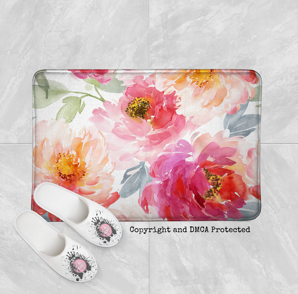 Watercolor Peonies in Bloom Shower Curtains and Bath Mats