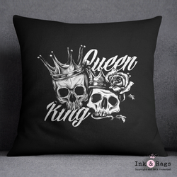 King and Queen Black and White Skull  Decorative Throw Pillow Cover
