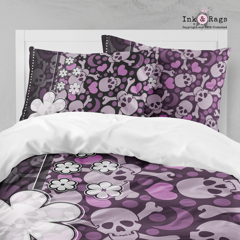 Purple Skull with Flowers and Hearts Bedding