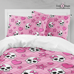 Pink Checker Board Candy Skulls Bedding