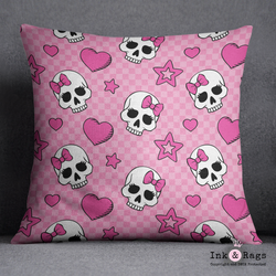 Pink Checkered Candy Skull Decorative Throw Pillow Cover