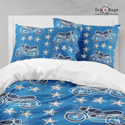 Blue Motorcycle Star Bedding