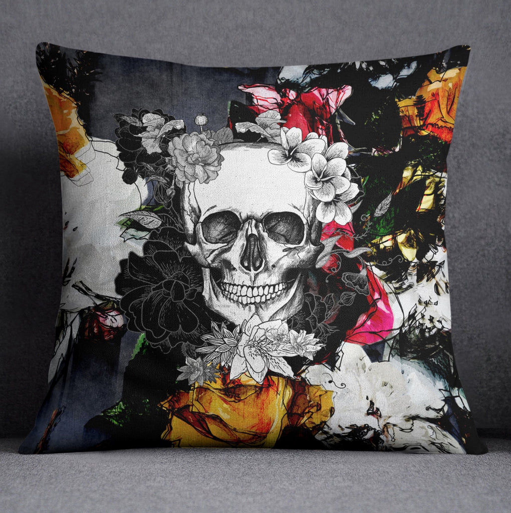 Abstract Colorful Flower Skull Decorative Throw Pillow Cover