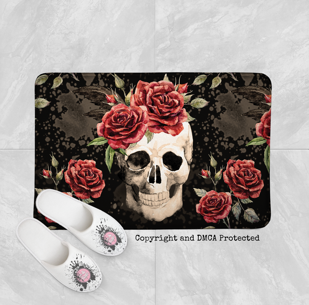 Antiqued Red Rose Skull Shower Curtains and Optional Bath Mats