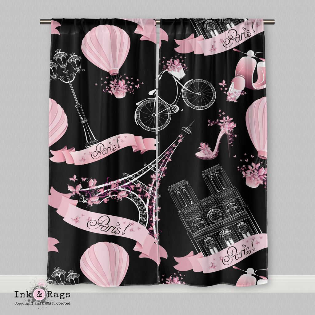 Black and Pink Whimsy in Paris Eiffel Tower Curtains