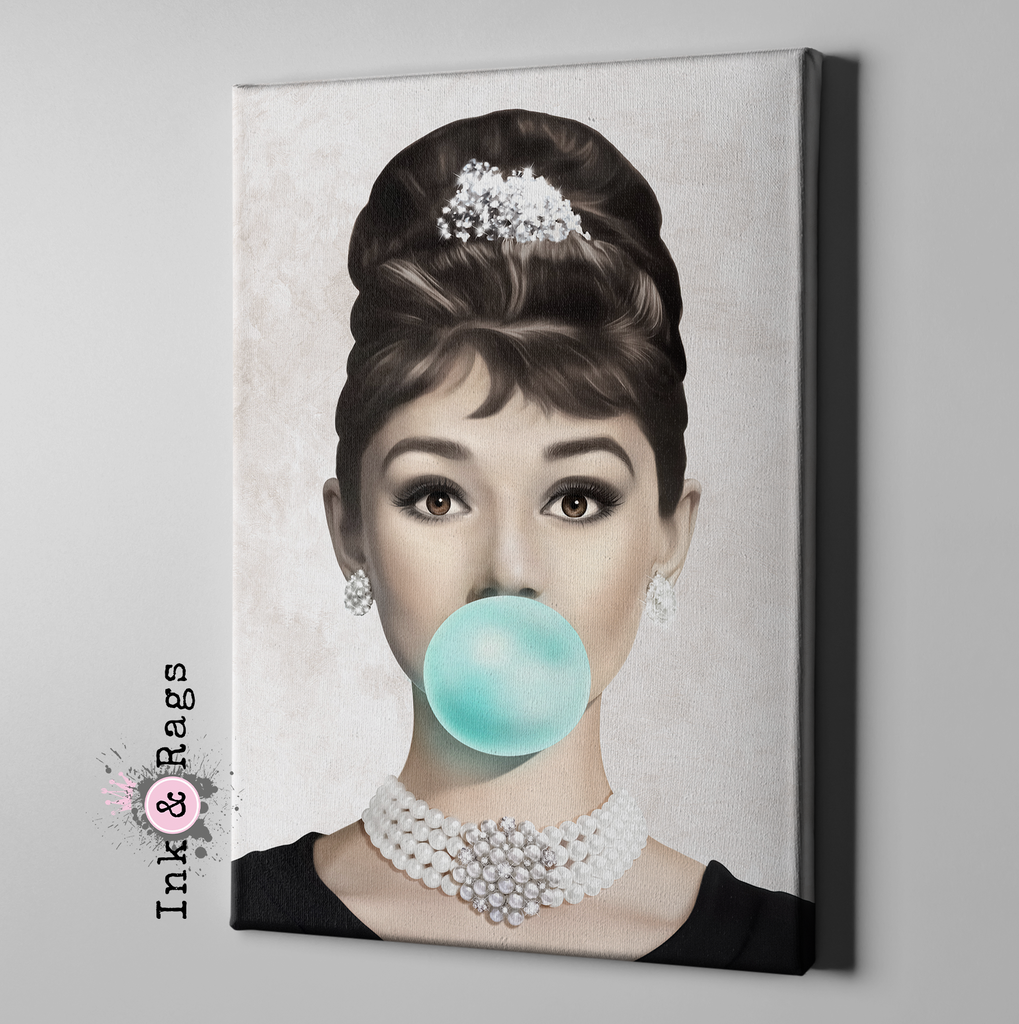 Audrey Hepburn Bubble Gum Gallery Wrapped Canvas