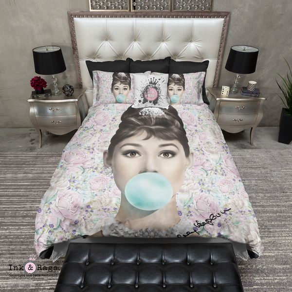 Pastel Rose Audrey Hepburn Bubble Gum Bedding