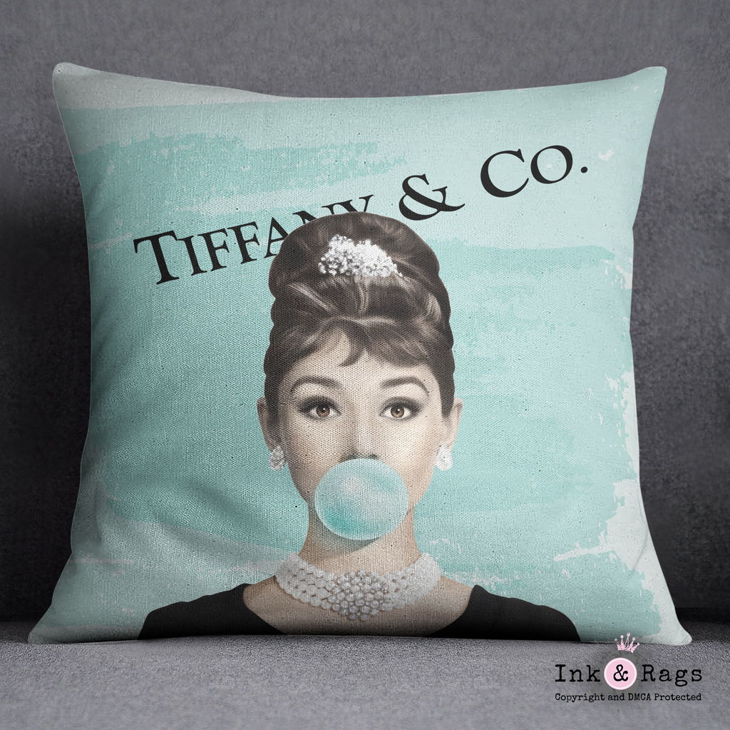 Designer Series Audrey Hepburn Bubble Gum Throw Pillow