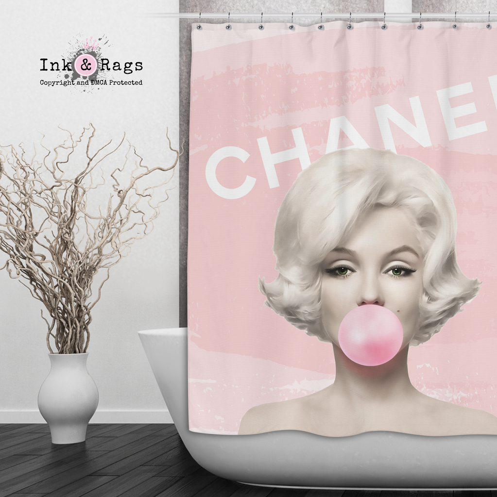 Designer Series Marilyn Monroe Bubble Gum Shower Curtains and Optional Bath Mats