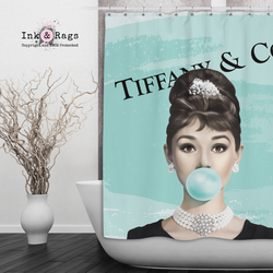 Designer Series Audrey Hepburn Bubble Gum Shower Curtains and Bath Mats