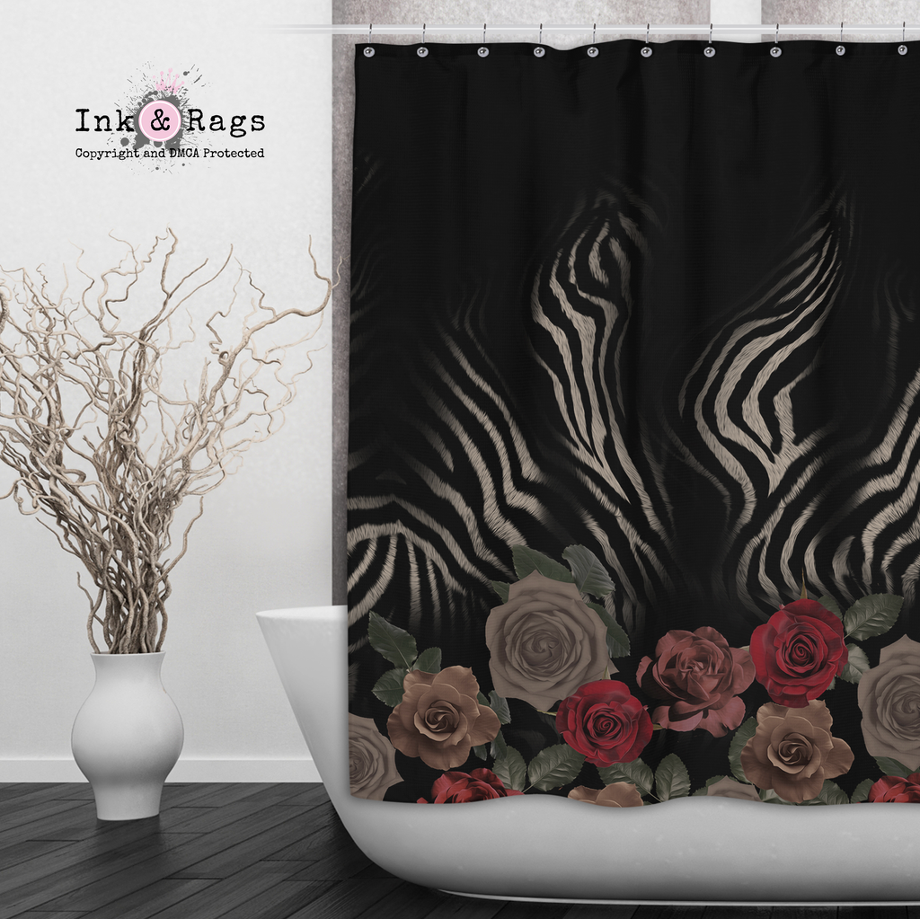 Zebra Rose Animal Print Shower Curtains and Optional Bath Mats
