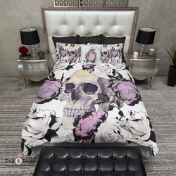 Purple Rose with Peeking Skull Bedding